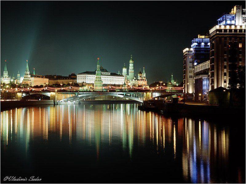 москва город ночь река театр мост кремль Ночная Москваphoto preview