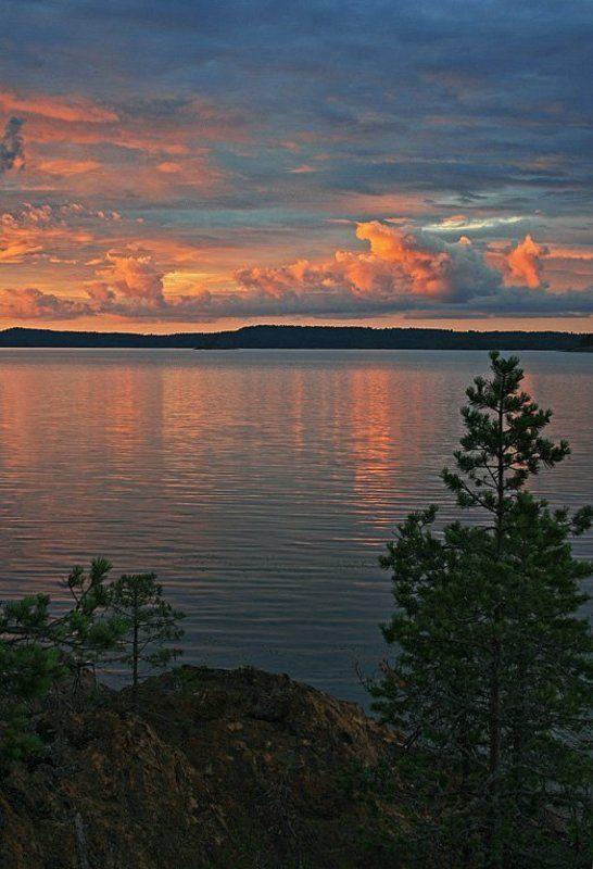 ладога, остров, небо, камни, облака Вечер  в красномphoto preview