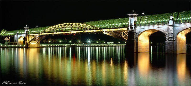 москва, город, ночь, река, мост, свет Андреевский мостphoto preview