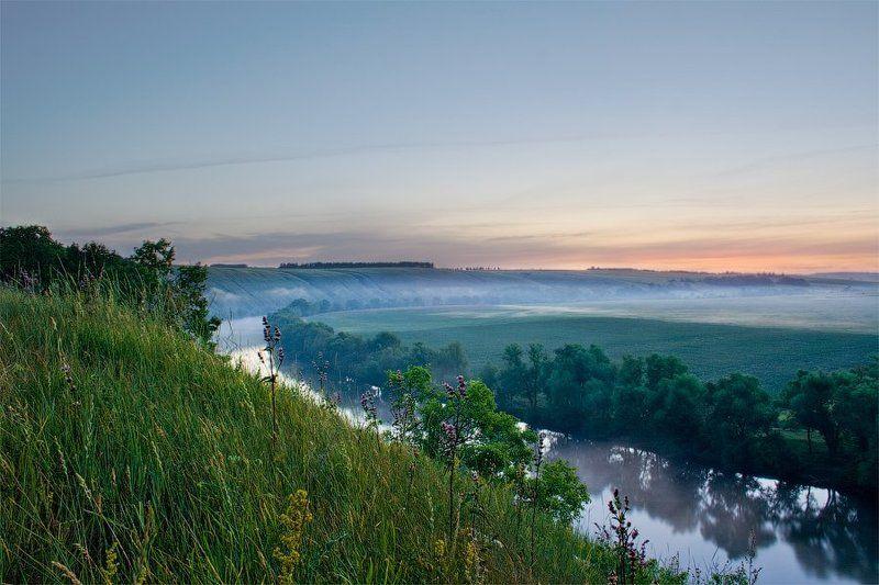 лето, пейзаж, рассвет, река, туман, тульская область Красивая мечтаphoto preview