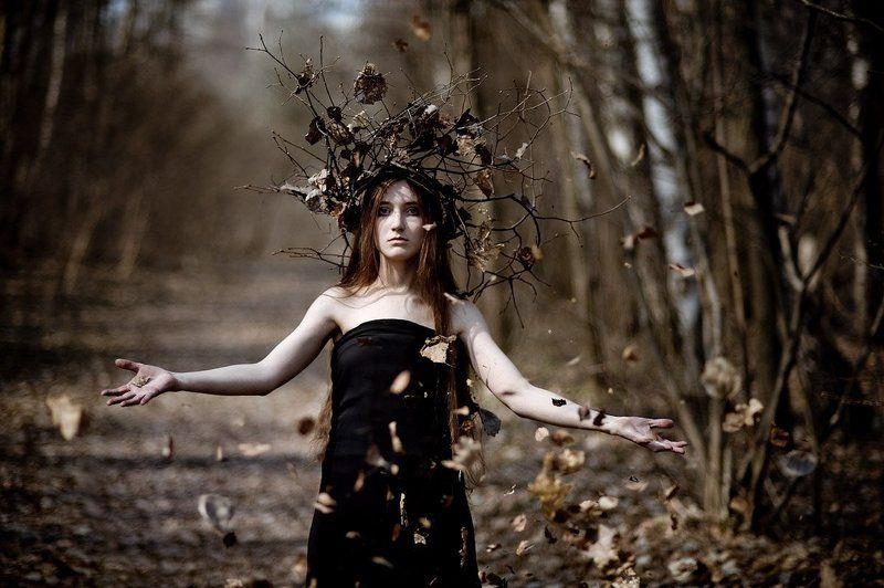 осень, девушка, жанр, листья, лес, фентази, платье, арт, креатив Берегиняphoto preview