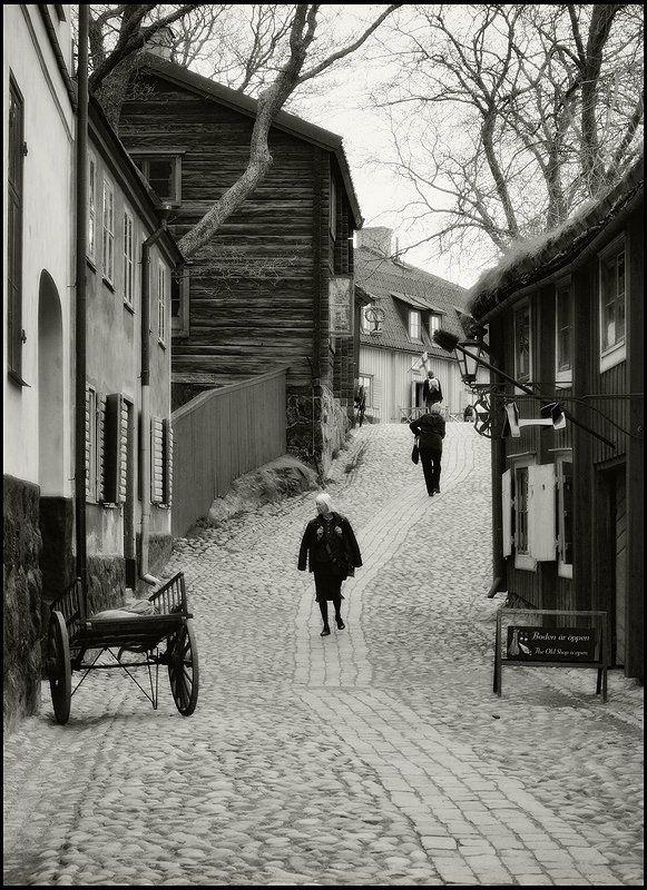 швеция, стокгольм, скансен Стекает старого Стокгольма мостовая...photo preview