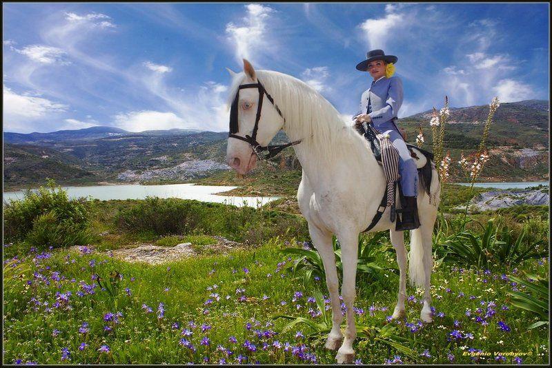 горы, наездница на коне. Фото из цикла-Пейзажи Андалусии < Всадница на белом коне с голубыми глазами.photo preview