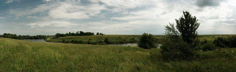 панорама, небо, трава, озеро ---photo preview