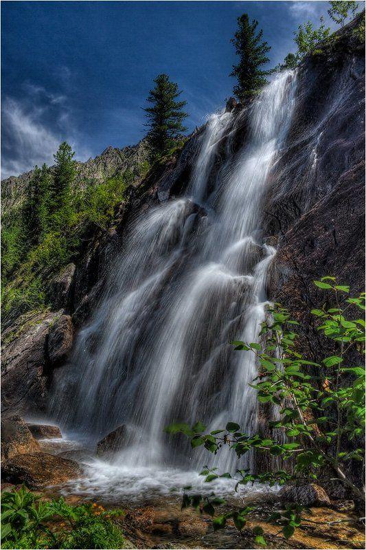 пейзаж, водопад, горы, западные, саяны Водопад \