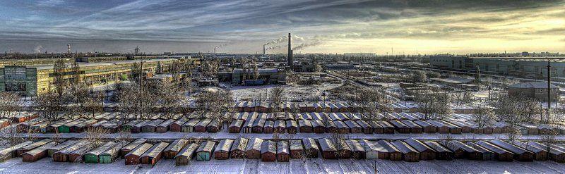 гаражи, зима, промзона, панорама ЧучОваphoto preview