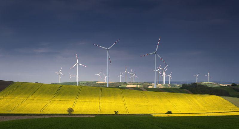 австрия, ветряки, весна, май, панорама, рапс, поле Электро-огородыphoto preview
