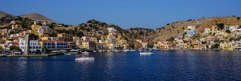 бухта,яхты,домики,море,лето,горы сокровище Эгейского моря - Симиphoto preview