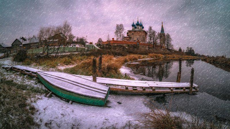 дунилово, лодка, пейзаж, река, ноябрь Про снег и серую погоду...photo preview