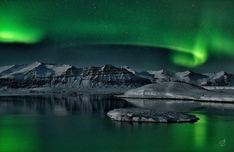 северное сияние, исландия Ночь в Ледяной Лагунеphoto preview