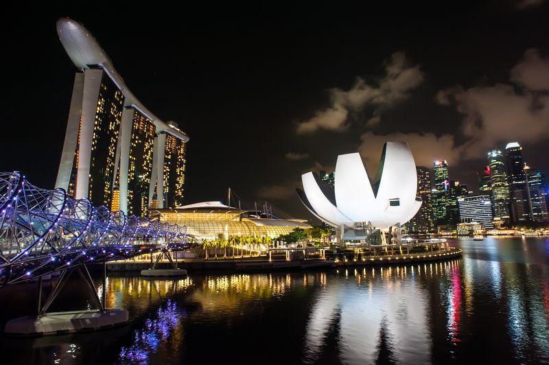 Сингапур, ночь, город, отражение, пейзаж  Ночной сингапурphoto preview