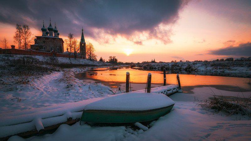 дунилово, церковь, лодка, река, мороз, закат, мостик, осень, ноябрь, river, boat, sunset, olegbeliy Холодный вечер Ноября... photo preview