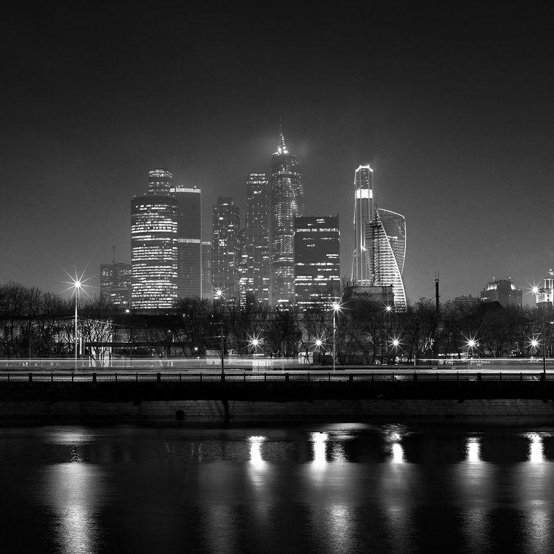 город., ночь., москва., река. \