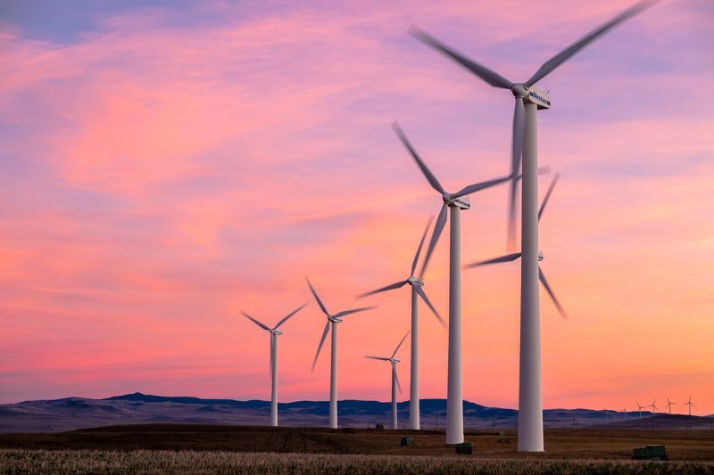 Canada, Alberta, sunrise, windmill Рассветные ветряки.photo preview