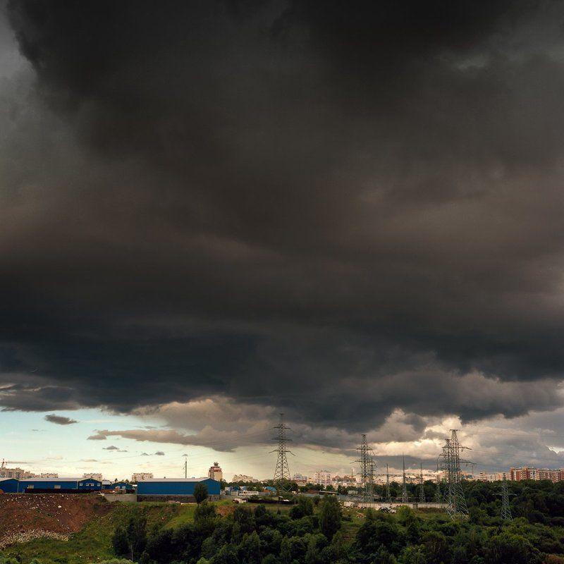 гроза.туча., дождь., город. \