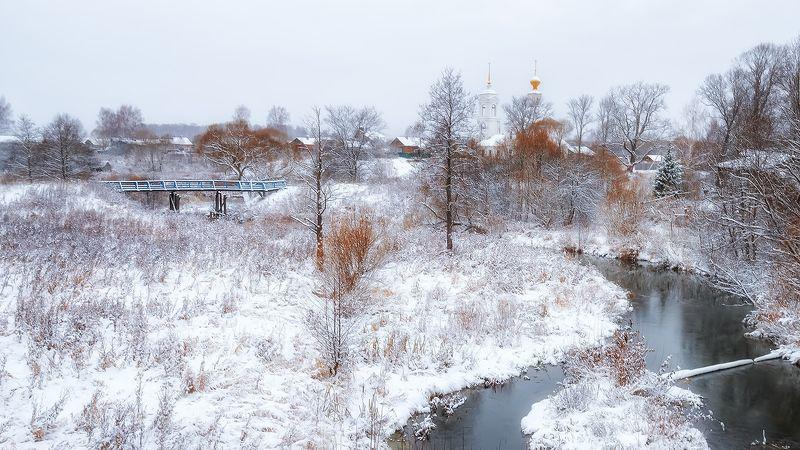 ноябрь, снег, осень, река, церковь, мост Ноябрь только начался...photo preview