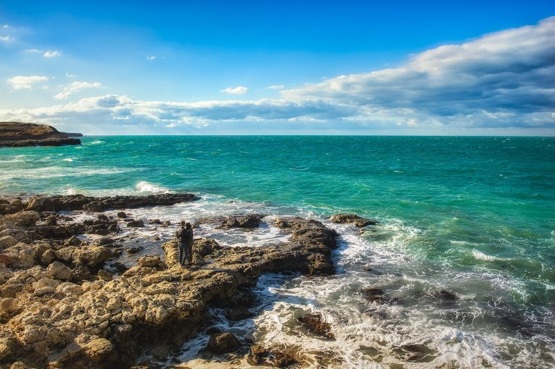 sky, girl, sea, boy ,two, water, waves, rocks, shore, Crimea  two..photo preview