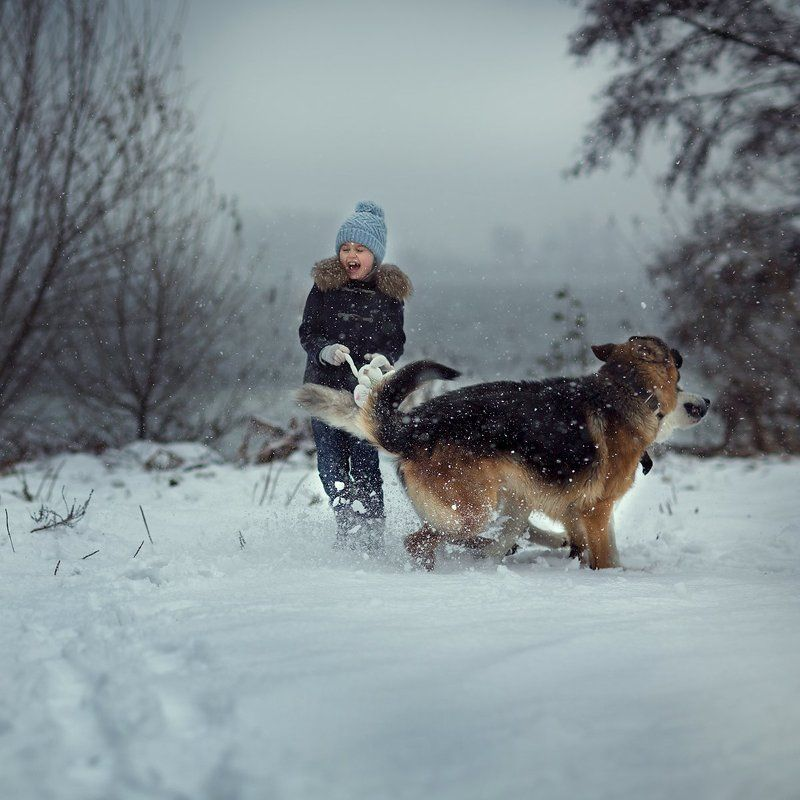 child, kid, childhood, happy, friends, winter, snow ***photo preview