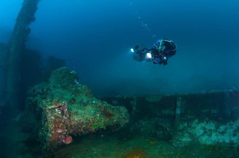 подводная фотография, под водой, море, океан, война, дайвинг, танк, затонувшее судно 70 лет безмолвияphoto preview