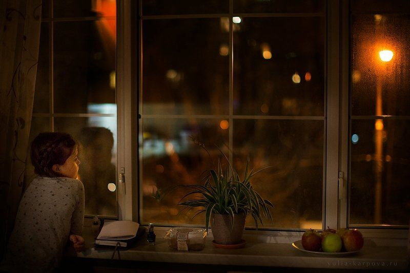 child, childhood, kid, girl, window, night, light  ***photo preview