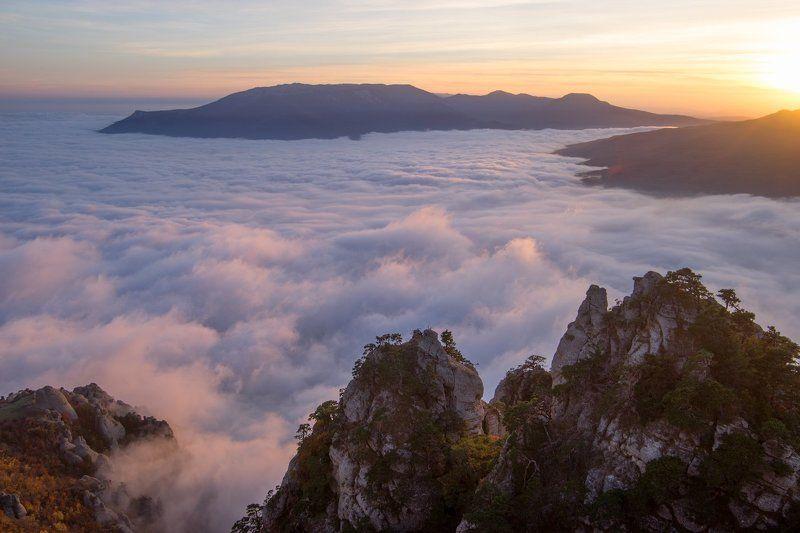 крым, море, горы, свет, закат, рассвет, природа, осень На Демерджиphoto preview
