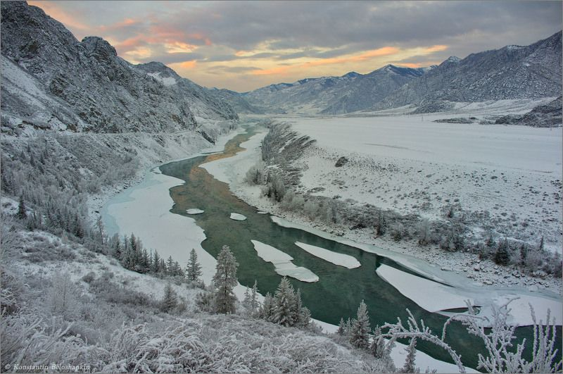 алтай, катунь, зима, закат Катунские бомыphoto preview