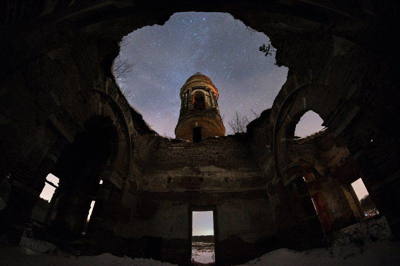 церковь, храм, тёплое, звёзды, астрофото, Подмосковье, волоколамск Храм под Звёздамиphoto preview