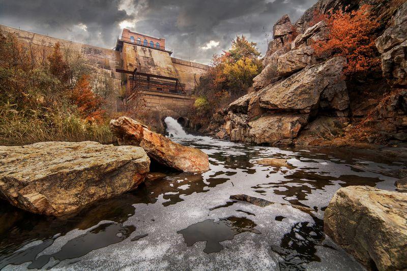осень, листьяя, вода, камни, облака, Геометрический \