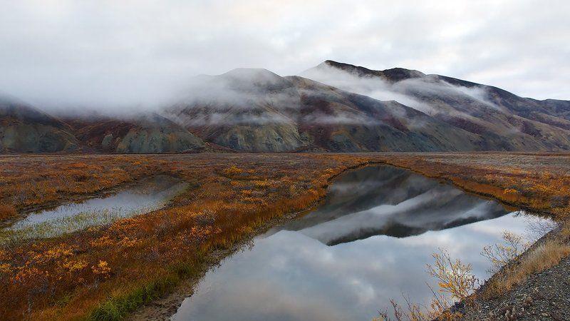 осень, речка, сопки, чукотка, пейзаж, облака, природа, север, Осенняя.photo preview