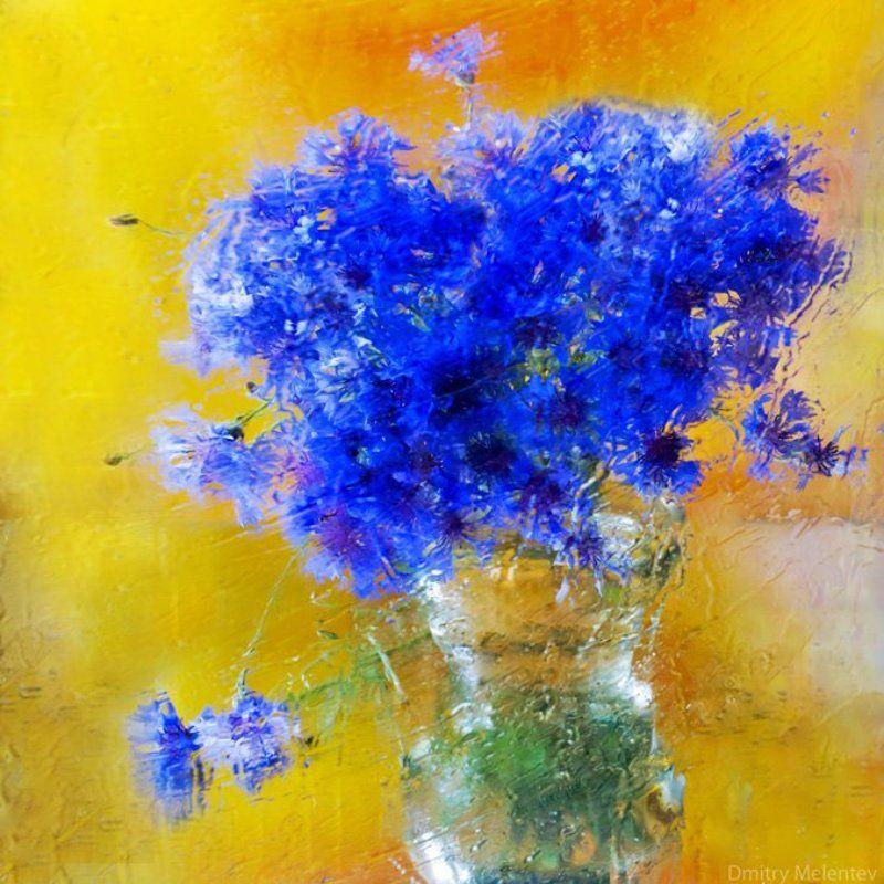 цвеы, букет, васильки Васильковый импрессионизмphoto preview