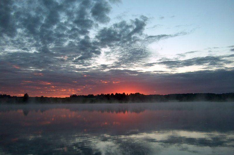 плотина, вода, туман, тучи, восход Перед восходомphoto preview