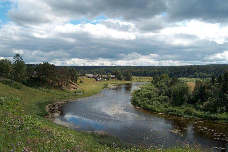 деревня, берег, река, вель, архангельская область, россия, лето, пейзаж Деревня Филимоновскаяphoto preview