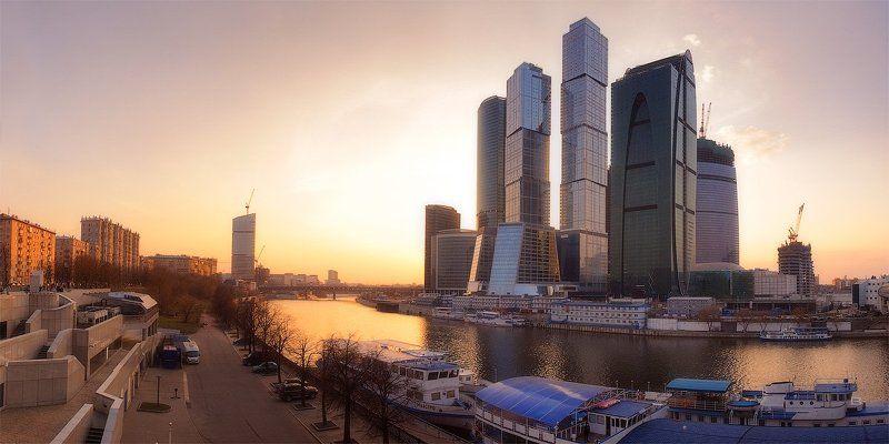 moscow city, москва, город, дейзаж, панорама, закат Пейзаж без названияphoto preview
