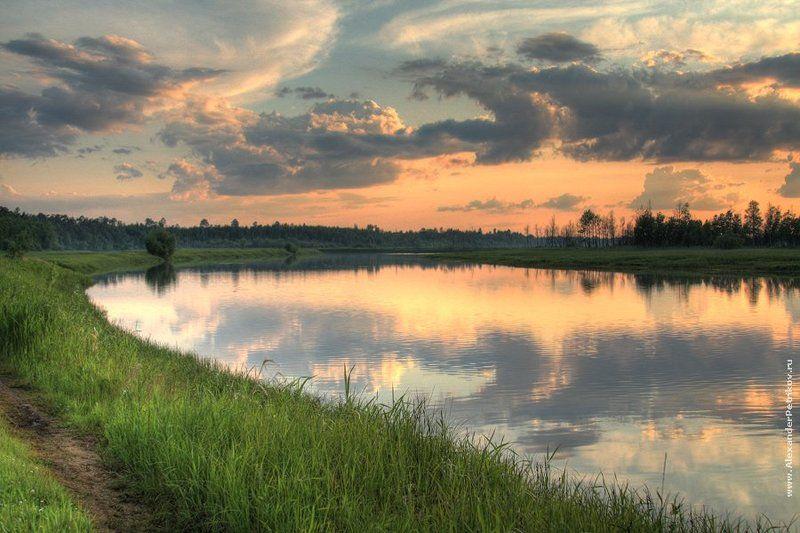 лето, закат, вечер, река, hdr ***photo preview