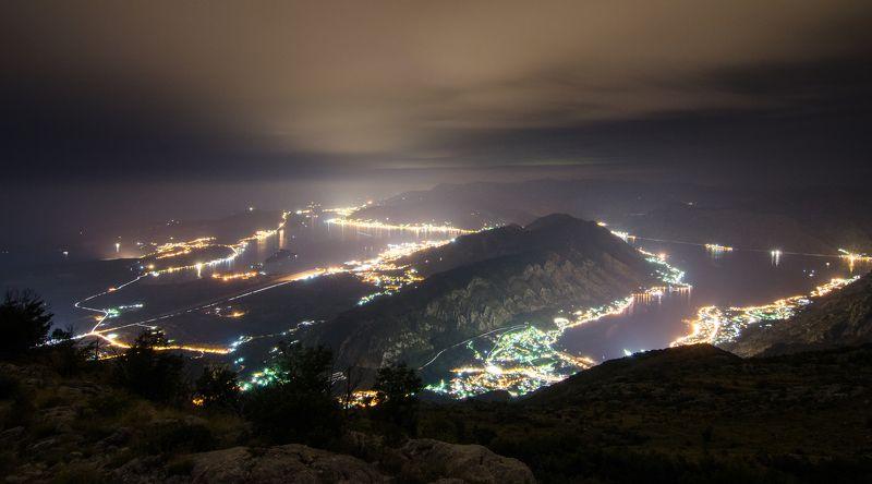 Которский залив, Черногория, пейзаж, ночь Которский заливphoto preview