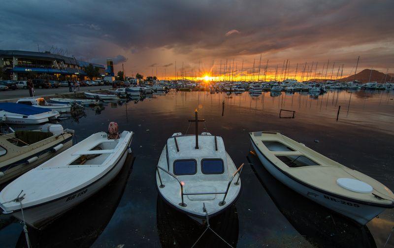 Черногория, закат, лодка, пейзаж Бар3photo preview