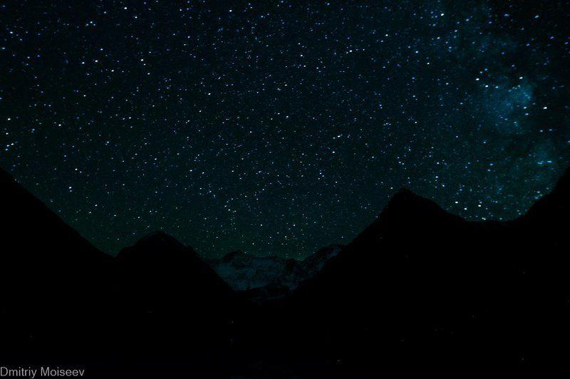 звезды, белуха, горы, лето, ночь, красота, природа, снег Белухаphoto preview