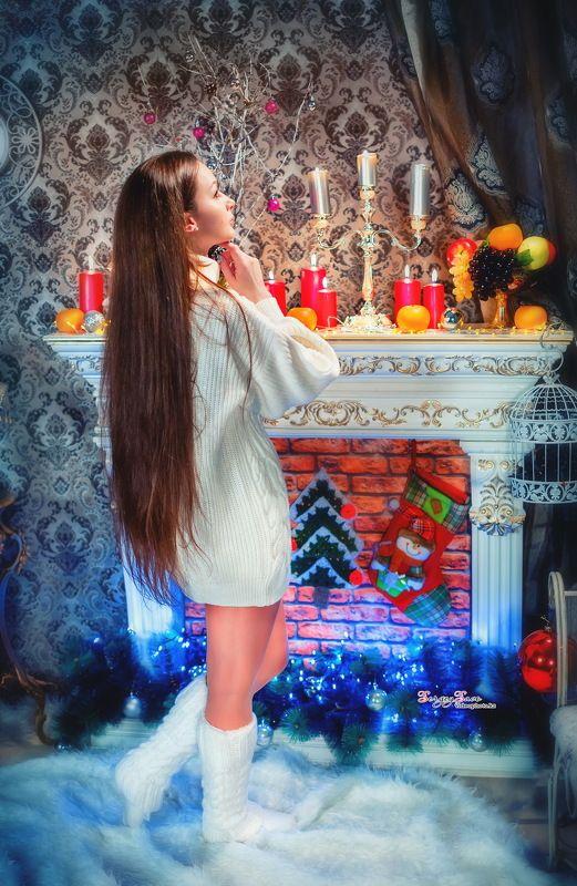 девушка, камин, новый год, новогодний проект, новогодняя фотосессия, свечи, Настя и медведи...photo preview