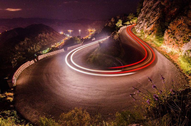 Черногория, пейзаж, ночь, горы, длинная выдержка круговое движение =)photo preview