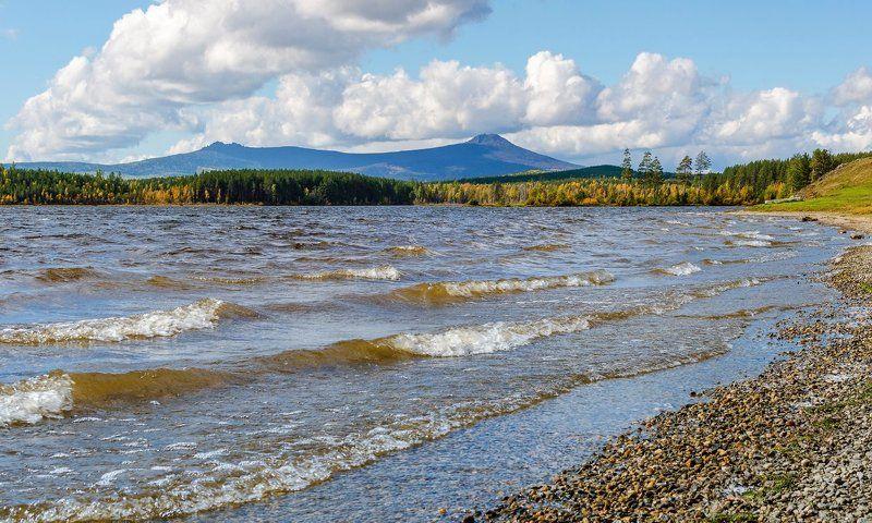 вода, волны, ветер, горы, облака \