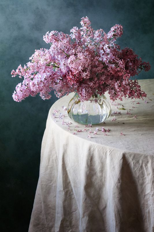 Цветочный, натюрморт, простой, букет, пурпурный, сирень, стеклянный, ваза, мятый драпировка, холодный, синий, дневной, свет, весна, домашний, интерьер Сиреньphoto preview