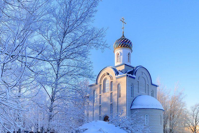 Архитектура, Зима, Пейзаж, Природа, Россия, Снег, Солнце, Тула, Тульская область, Церковь Мороз и солнцеphoto preview