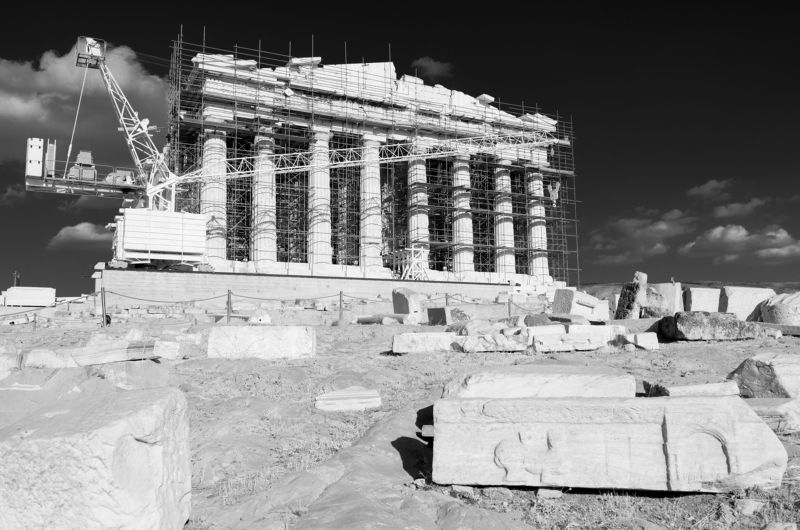 Acropolis, ancient, antiquity, architecture, Athens, building, Greece, historic, landscape, monument, mountain, Parthenon, reconstruction, rock, rocky outcrop, ruins Under Constructionphoto preview