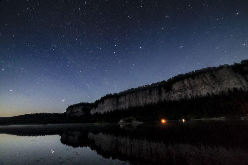 звезды, река, ночь, скалы, Пермский край Ночь на Вишереphoto preview
