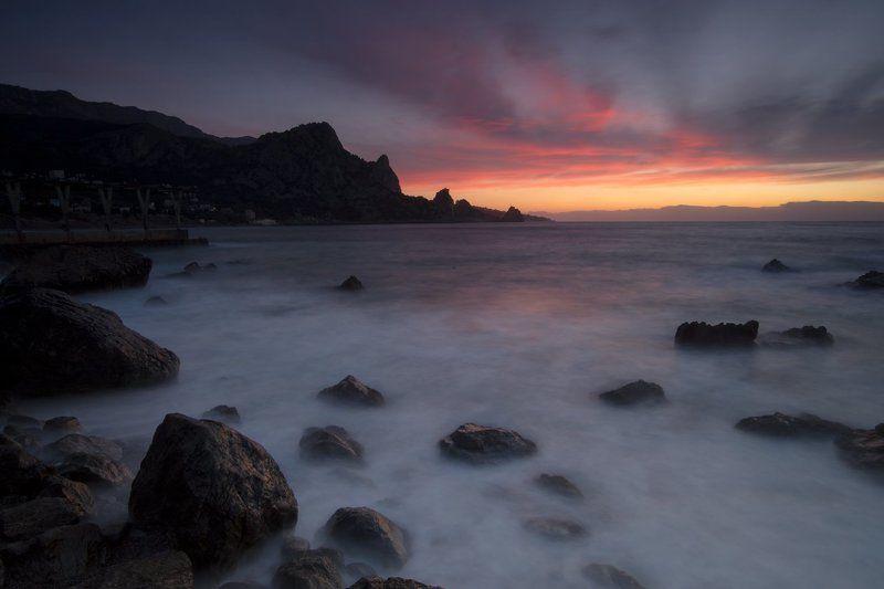 крым, море, горы, свет, закат, рассвет, природа, осень Рассвет у горы Кошкаphoto preview