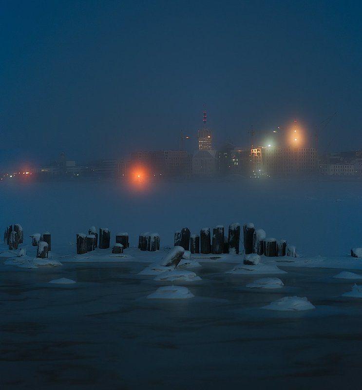 зима, город, туман, утро, холод, мороз, снег Архангельск.photo preview