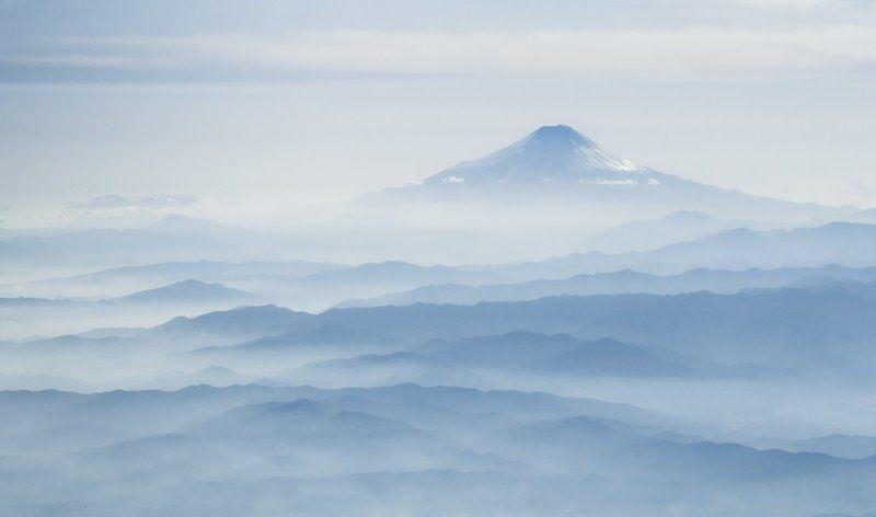 япония, горы, фудзияма, дымка, japan, mountains, fuji photo preview