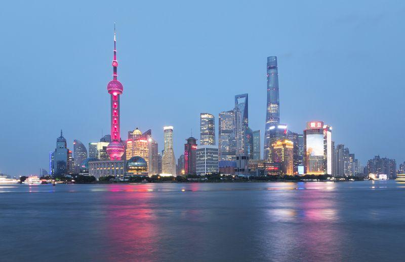 sunset, shanghai, shanghai skyline, background, view, sky, шанхай, китай Shanghai in sunsetphoto preview