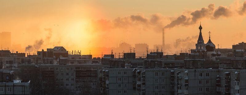 солнце, зима, город На восходеphoto preview