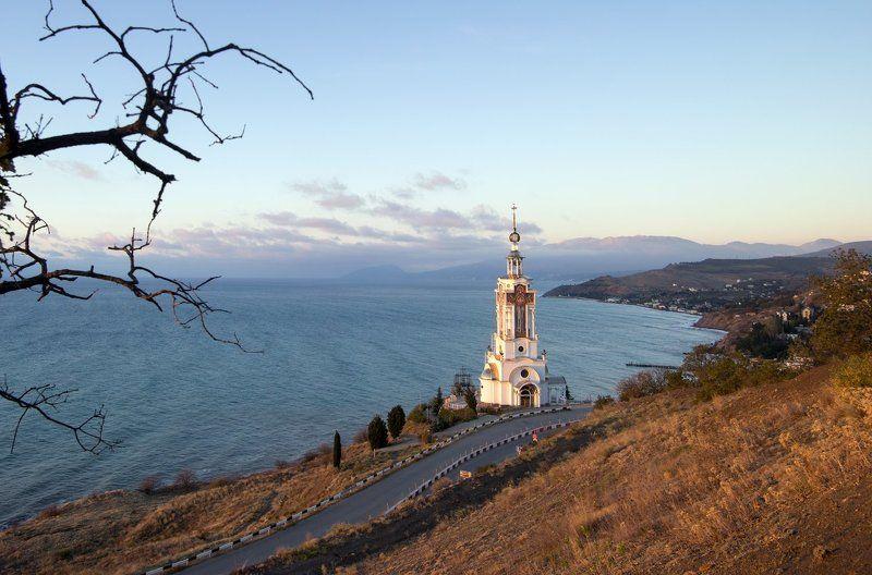 крым, море, горы, свет, закат, рассвет, природа, осень Церковь святителя Николаяphoto preview